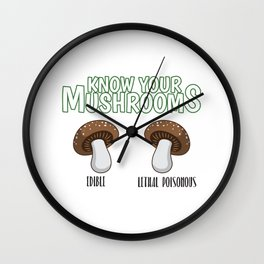 Know Your Mushrooms Edible Lethal Poisonous Gift Wall Clock