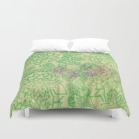 the thing Duvet Covers featuring Thing by Annesleyart