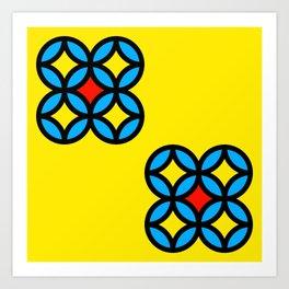 Colored Circles on Yellow Board Art Print