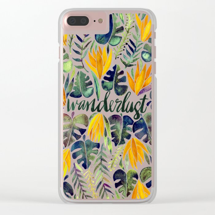 Tropical Wanderlust – Orange & Emerald Clear iPhone Case