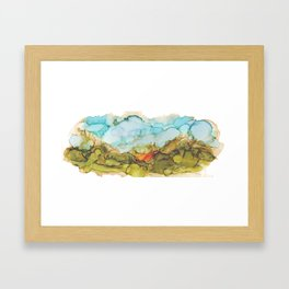 Alcohol Ink Abstract Landscape Farmland Sunset Framed Art Print