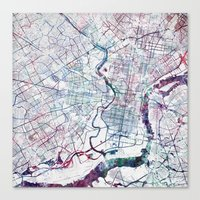 Canvas Prints featuring Philadelphia map by MapMapMaps.Watercolors