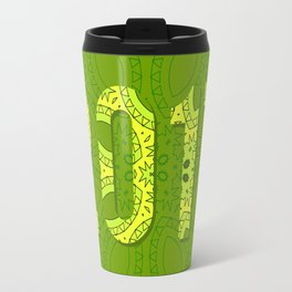 2017 year illustration decorated with abstract  decorative pattern in green colors. Travel Mug