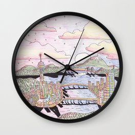 Seattle Black Ink & Colored Pencil Wall Clock