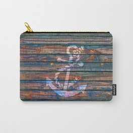 Nautical blue pink watercolor rustic wood white anchor Carry-All Pouch