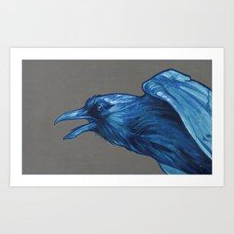 Raven, Blue Art Print