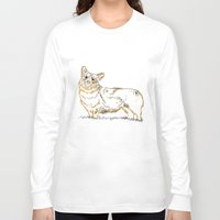 corgi Long Sleeve T-shirts featuring Corgi!!!! by katieWalkerDesigns