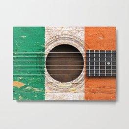 Old Vintage Acoustic Guitar with Irish Flag Metal Print