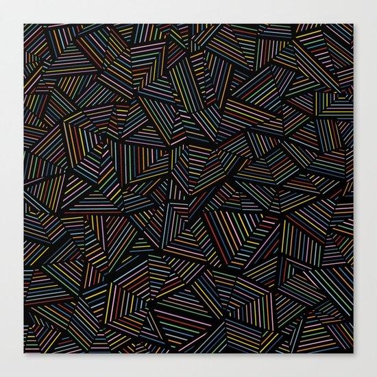 Ab Linear Rainbow Black Canvas Print