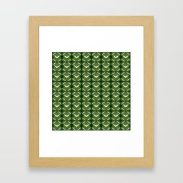 Grassy rhombuses of white stars with hearts in a bright intersection. Framed Art Print