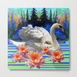 Swan Island &, Peach-Pink Water Lillies Metal Print