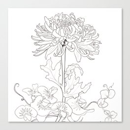 Flora of Lighthearted Living - Color or Paint Your Own! Canvas Print