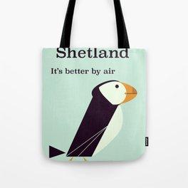 Shetland Puffin Vintage travel poster Tote Bag