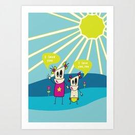 Robot Sisters Blue - A Family Affair Art Print