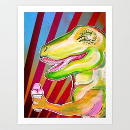 dinos need icecream Art Print