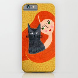 Besties. Crazy cat lady with golden geometric pattern iPhone Case