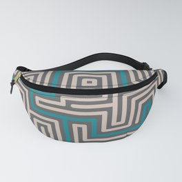 Meandering round lines cream & teal Fanny Pack