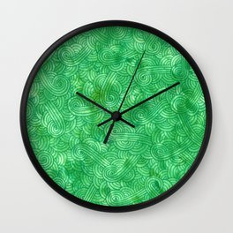 Bright green swirls doodles Wall Clock