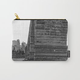 Stone Arch Bridge and Minneapolis Skyline Black and White Carry-All Pouch