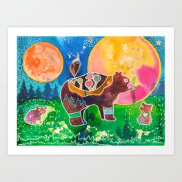 Family bear - animal - by LiliFlore Art Print