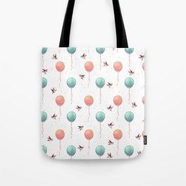 Cute teal coral brown birds balloons watercolor Tote Bag