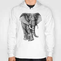 elephant Hoodies featuring Ornate Elephant v.2 by BIOWORKZ