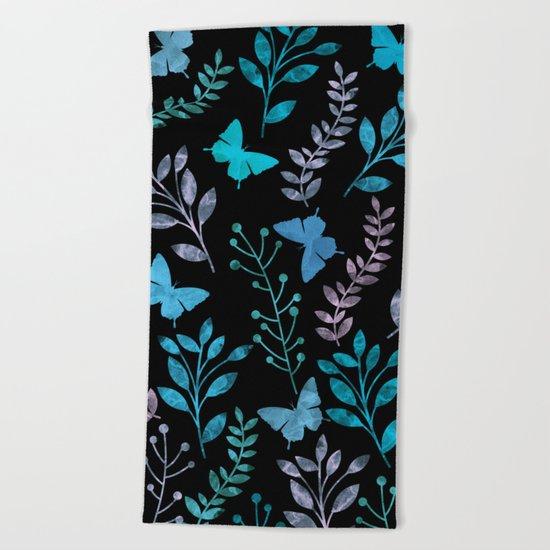Watercolor flowers & butterflies II Beach Towel