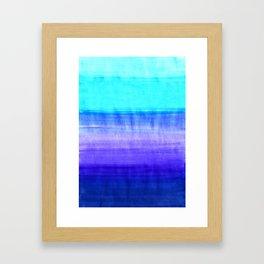 Ocean Horizon - cobalt blue, purple & mint watercolor abstract Framed Art Print
