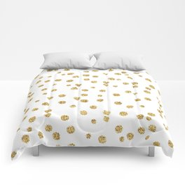 Gold glitter confetti on white - Metal gold dots Comforters