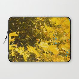 closeup yellow leaves texture abstract background Laptop Sleeve