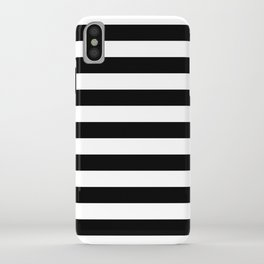 Large Black and White Horizontal Cabana Stripe iPhone Case