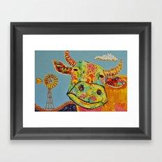 Happy Cow Face Framed Art Print