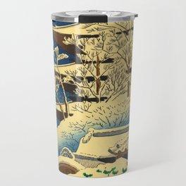 Japanese Woodblock Print Vintage Asian Art Colorful woodblock prints Shrine At Night Snow White Travel Mug