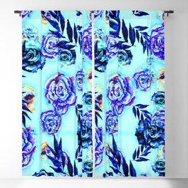 blue indigo purple gold turquoise floral pattern Blackout Curtain