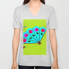 A Fan with Roses and a Dragon Fly Unisex V-Neck