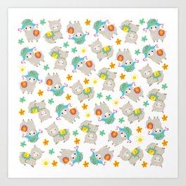 Pattern Of Alpacas, Cute Llamas With Hats, Flowers Art Print