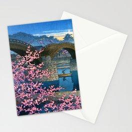 12,000pixel-500dpi - Kawase Hasui - Kintai Bridge Night Spring - Digital Remastered Edition Stationery Cards