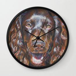 Boykin Spaniel dog art portrait from an original fine art painting by L.A.Shepard Wall Clock