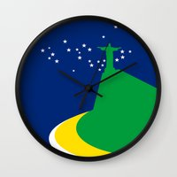 brazil Wall Clocks featuring BRAZIL by Marcus Wild