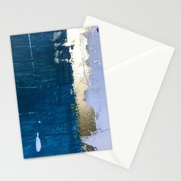 Rain [1]: a minimal, abstract mixed-media piece in blues, white, and gold by Alyssa Hamilton Art Stationery Cards