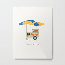 New York City, NYC Hot Dog & Pretzel Cart Metal Print