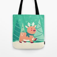 reindeer Tote Bags featuring Reindeer by Claire Lordon