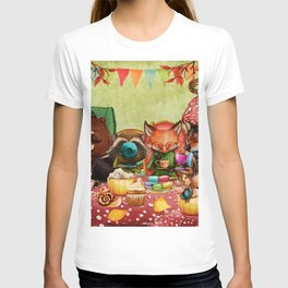 Woodland Friends at Teatime in Forest T-shirt