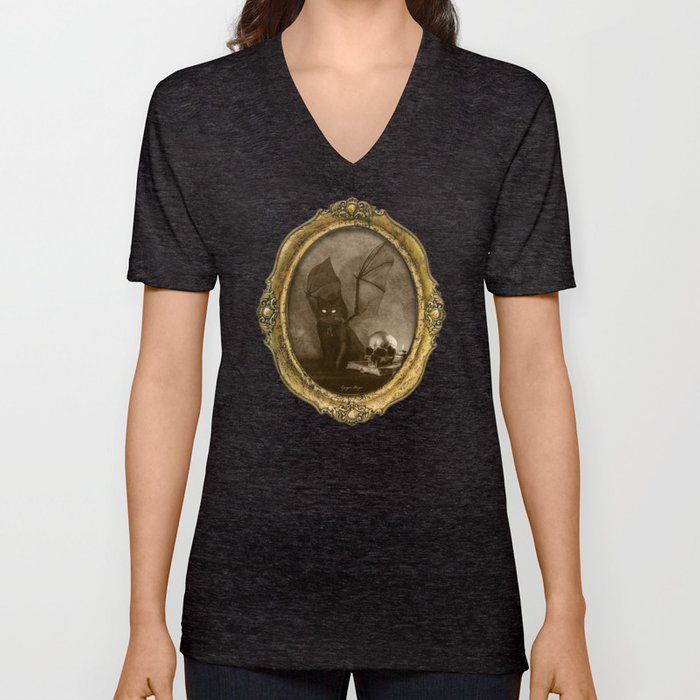 Dark Victorian Portrait: The Familiar Unisex V-Neck