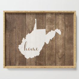 West Virginia is Home - White on Wood Serving Tray