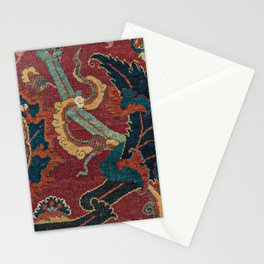 Flowery Arabic Rug III // 17th Century Colorful Plum Red Light Teal Sapphire Navy Blue Ornate Patter Stationery Cards