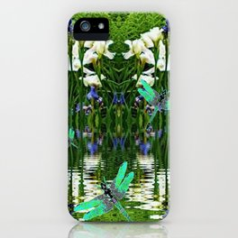 TURQUOISE DRAGONFLIES IRIS WATER REFLECTIONS iPhone Case