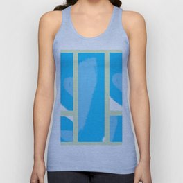 Expressive Windows of Blue and Green Unisex Tank Top