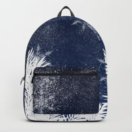 Winter white snow pine trees navy blue Christmas Backpack