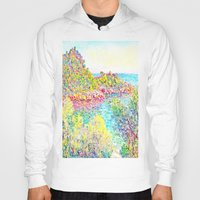 monet Hoodies featuring MONET : Landscape Near Monetcarlo  by PureVintageLove